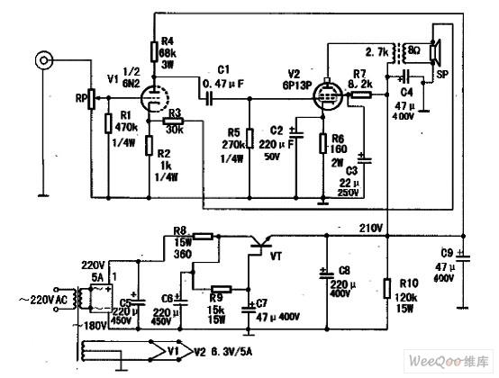 >>用6p13p做的胆机功放电路图