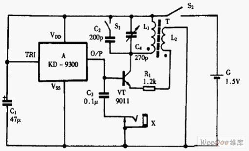 kd9300构成高低频信号发生器电路图