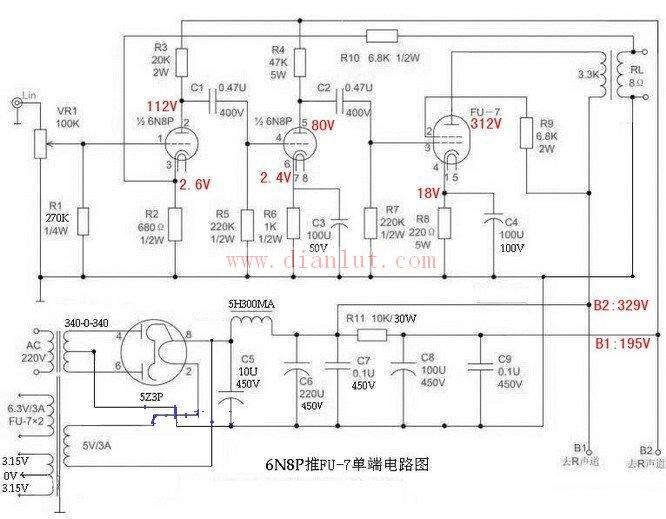 而若在末级电路中采用单管在单端甲类状态下工作就不存在推挽工作方式