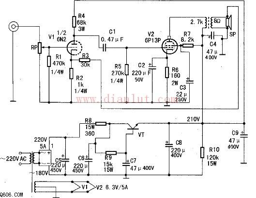 由6p13p设计的胆机功放电路图