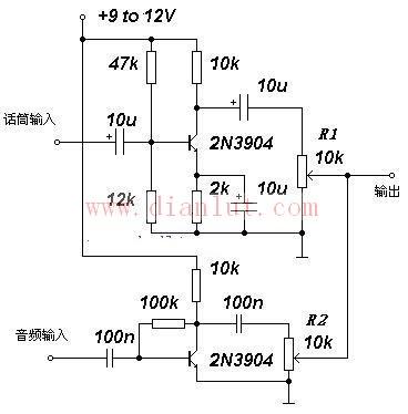 分立元件构成的二路音频混合器电路