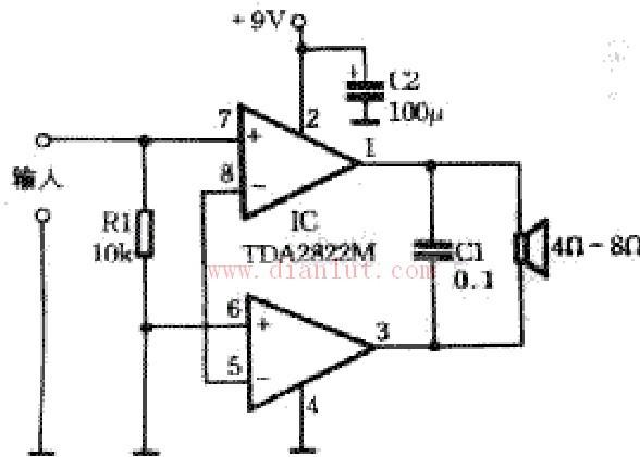 采用tda2822m制作简单功放的原理和电路-音