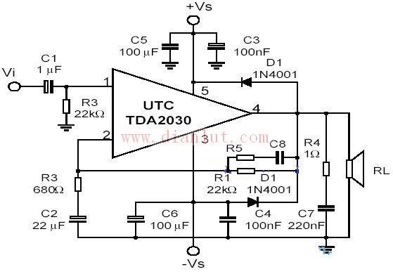 tda2003设计的功放电路原理图