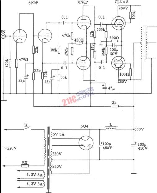 6l6 a类电子管推挽功放电路的介绍