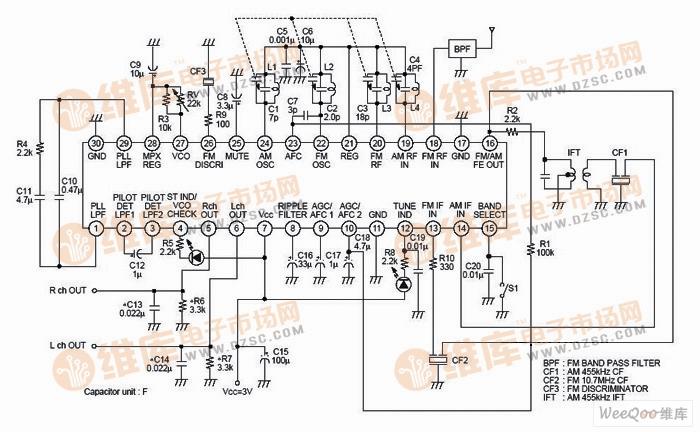 自制高保真无线立体声音箱电路图