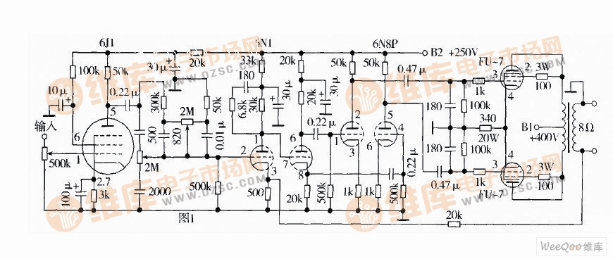fu-7推动的胆机功放电路图和电源电路图