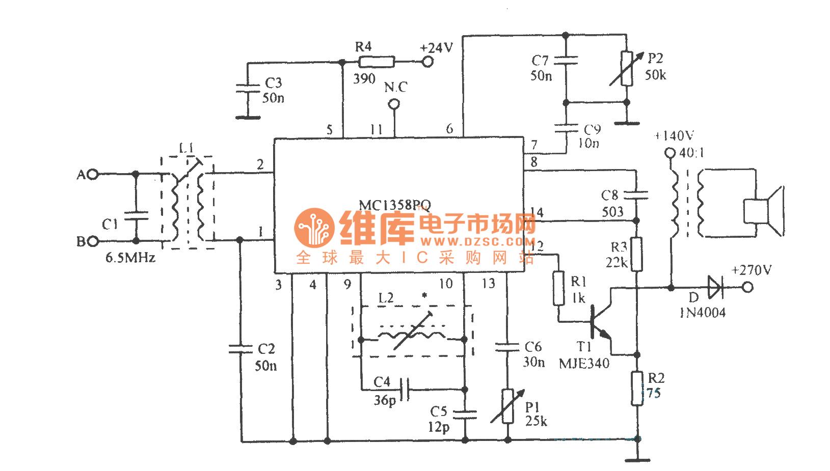 mcl358集成电路内含中频线性放大器,附加功率调节器,限幅器,电子控制衰减器和音频驱动等电路.