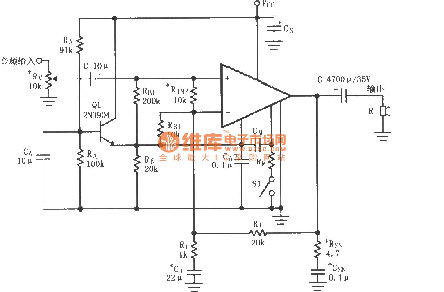 LM4781的单电源供电的音频功率放大电路_音频电路_电路图_114ic电子网