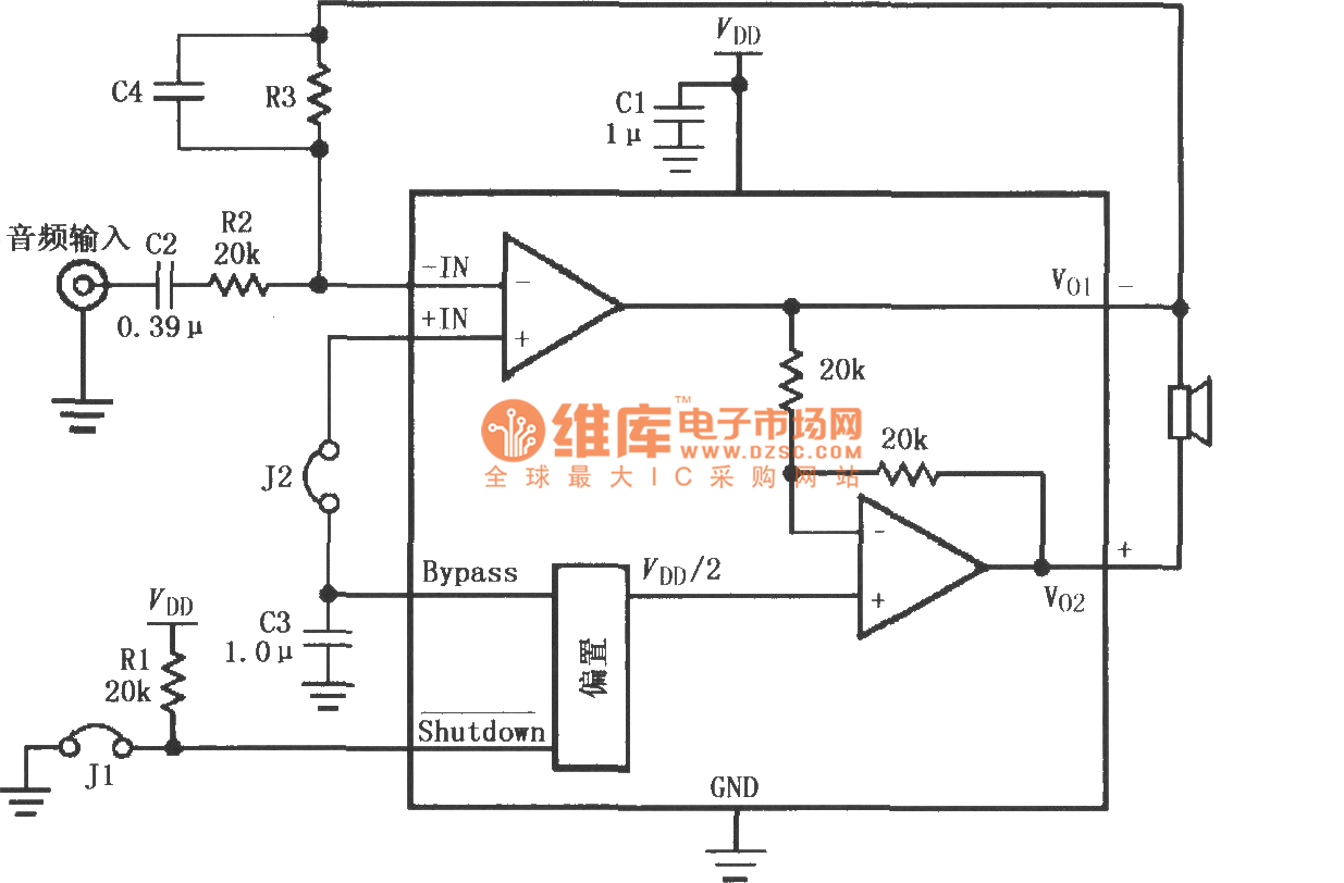 如图所示为lm4903/4905高增益音频放大电路。j1为跳线,当j1断开时1脚接vdd,放大器全功率工作;当j1接通时1脚接地,放大器微功率关断。j2也为跳线,当j2断开时,放大器+in端悬空,无法得到偏置,放大器不工作;当j2接通时,放大器+in端得到偏置,放大器工作。