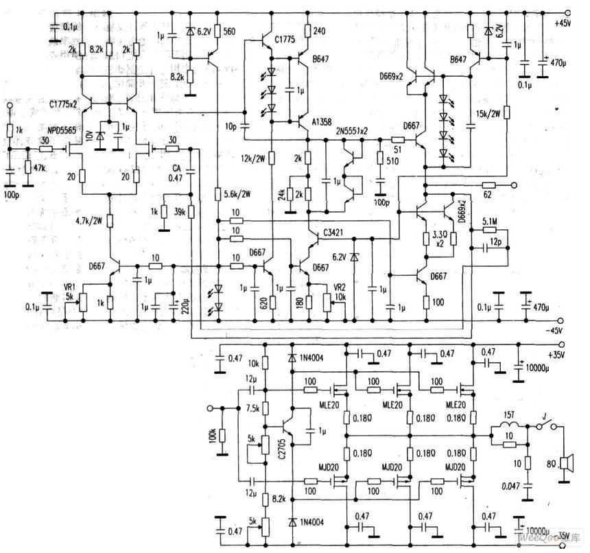 分体结构纯甲类功放电路图