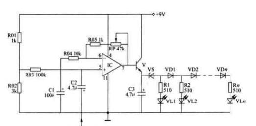 来自功率放大器或前置放大器的音频输入信号经c2耦合加至lm324运放的5