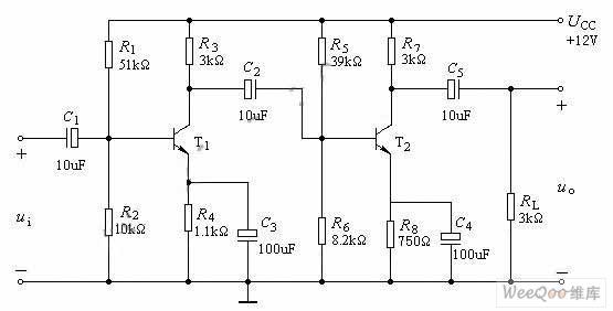 阻容(rc)耦合电压放大器电路图