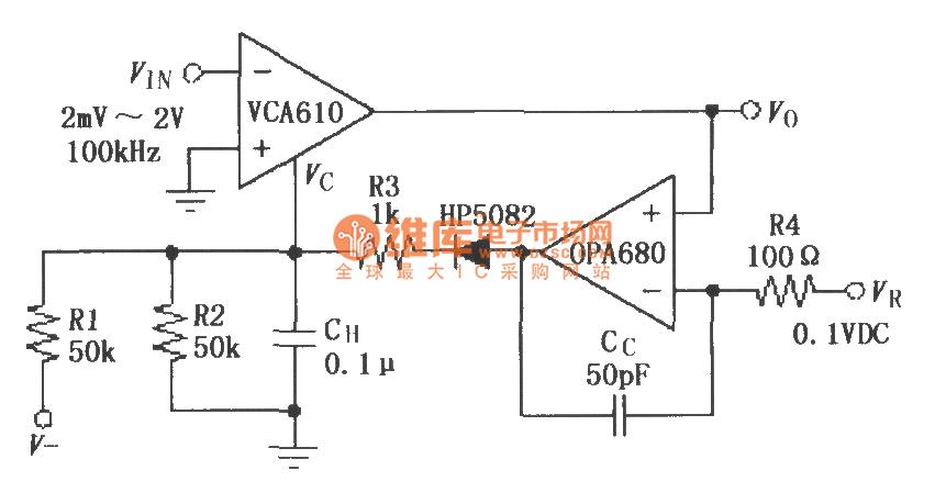 vca610与运放opa680构成的agc电路