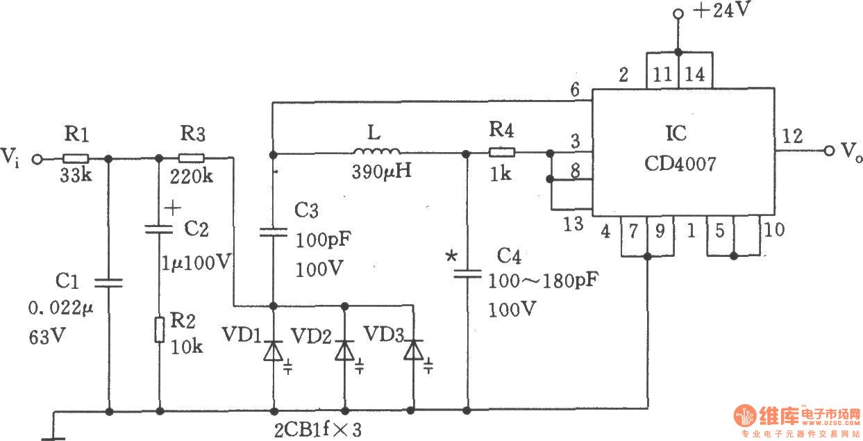 由cd4007构成的压控振荡器