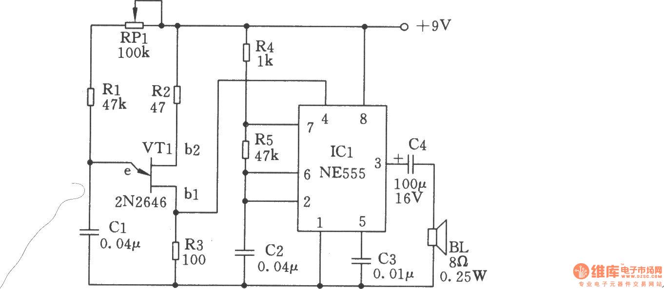 由ne555构成雨声发生器-信号产生电路图