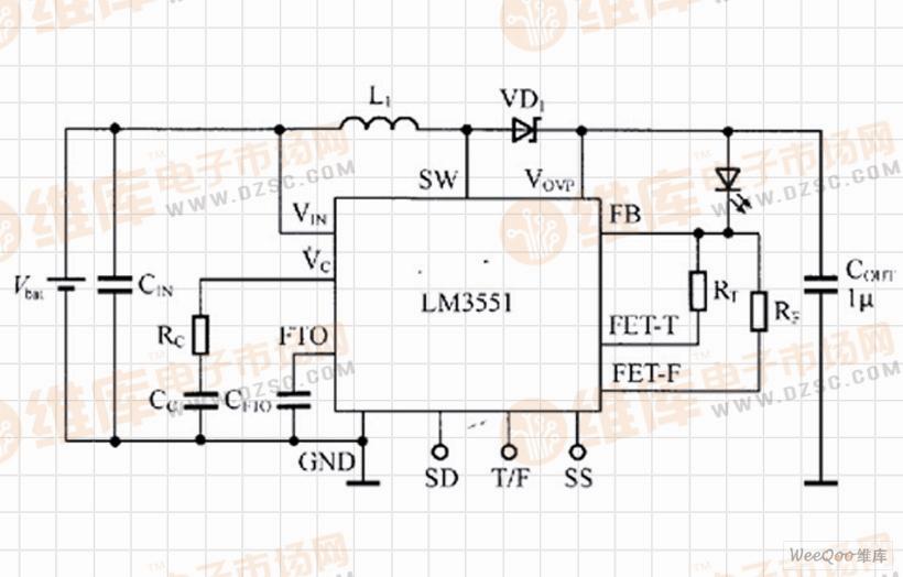 lm3551驱动单只led的闪光灯电路
