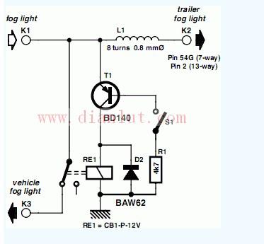 关于雾灯开关的电路图