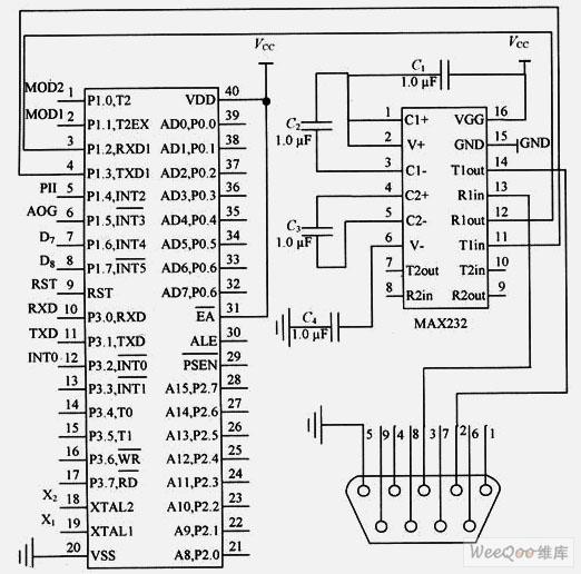 也就是调制解调器中单片机w77e58与pc机的接口电路,w77e58支持ttl电