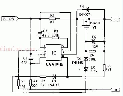 若调节器失效使发电机输出电压超过22v时,该电路会自动切断方向灯电源