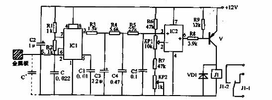 本电路采用两片集成电路,ic1是时基电路ne555,ic2是运算放大器ca3130.