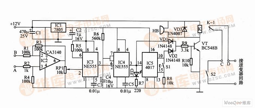 逆变电源延迟保护电路图
