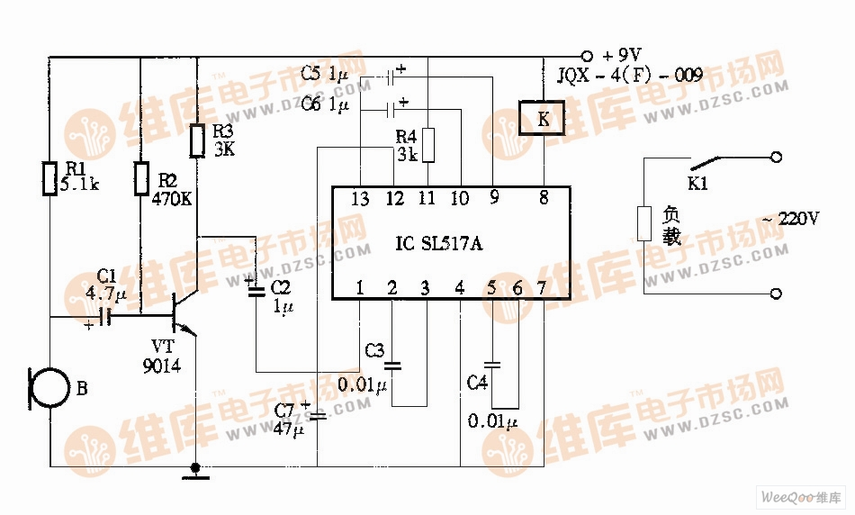 声控照明灯电路图(sl517)