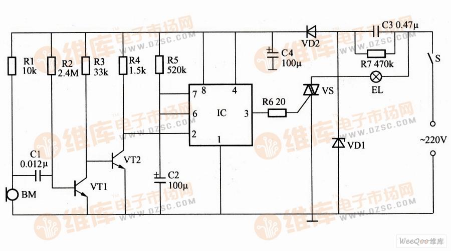 >>基于ne555的声控照明控制器电路图