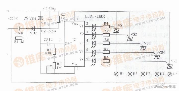 集成了上电清零电路,计数时序分配器和输出控制等电路,具有五路彩灯