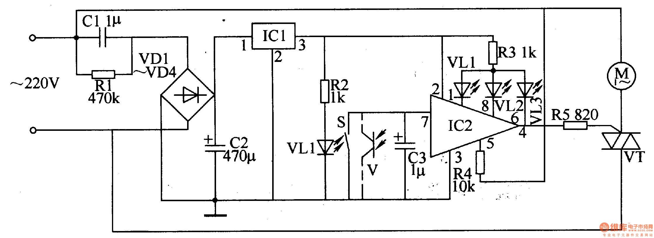 该吊扇电子调速器电路由电源电路