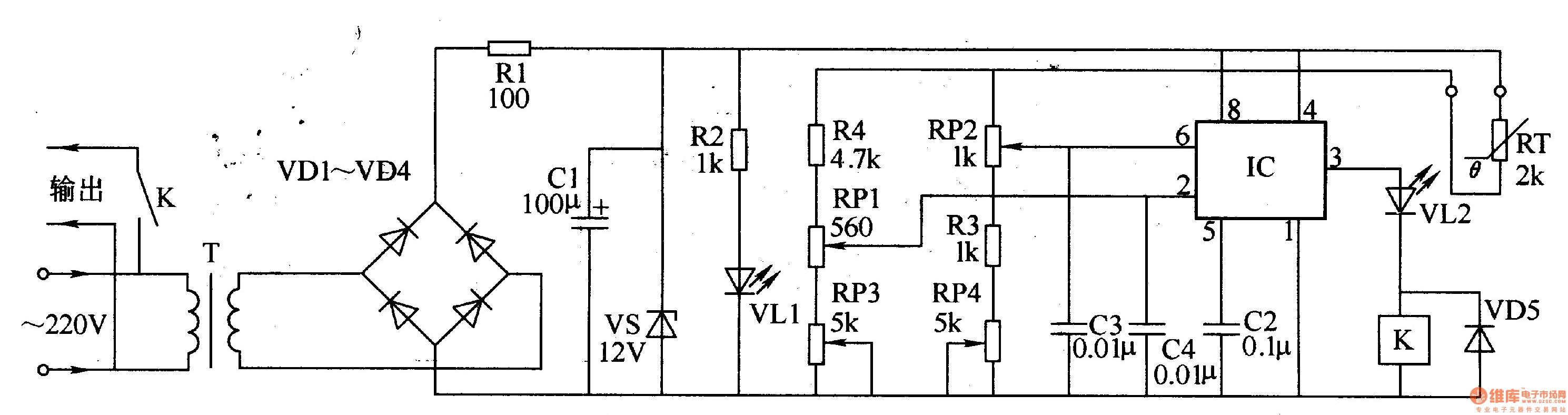 电源电路由电源变压器t、整流二极管vd1-vd4、电阻器b1、电源指示发光二极管vl1、滤波电容器c1和稳压二极管vs等组成。 温度检测与控制电路由热敏电阻器rt、时基集成电路ic、电位器rpl。rp2、电阻器 r2、r4电容器c2-c4、继电器k1、二极管vd5和发光二极管vl2组成。 交流220v电压经t降压、vd1-vd4整流、cl滤波及vs稳压后,产生12v(vcc)直 流电压,作为ic的工作电源。同时,将vll点亮。 ic的6脚作为基准电压端,2脚作为温度检测控制端,3脚为控制输出端。rpl用