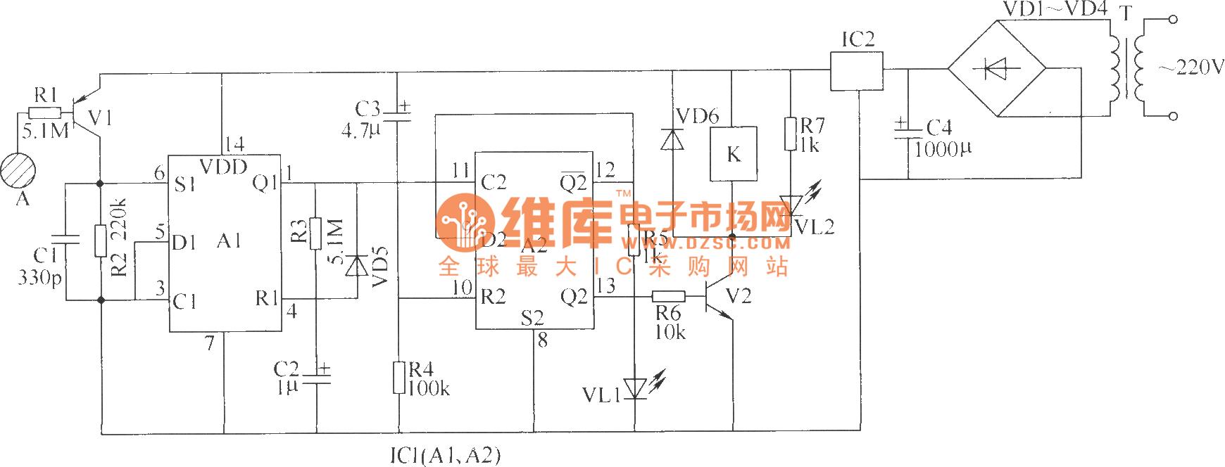 t选用3~5w,二次电压为8~10v的电源变压器