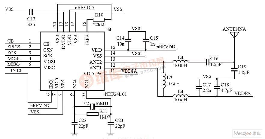 基于nrf24l01的射频收发电路原理图