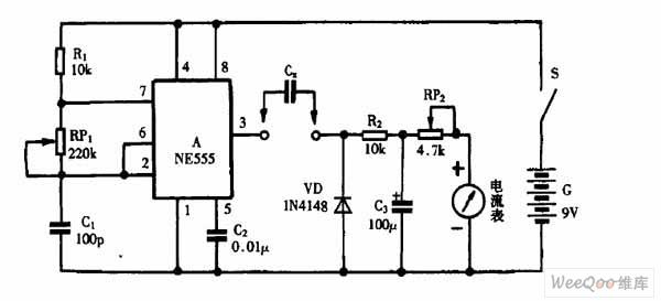 巧用ne555作线性电容测试仪电路图