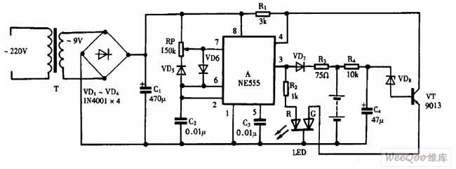 巧用ne555作脉冲式镍镉电池充电器电路图二