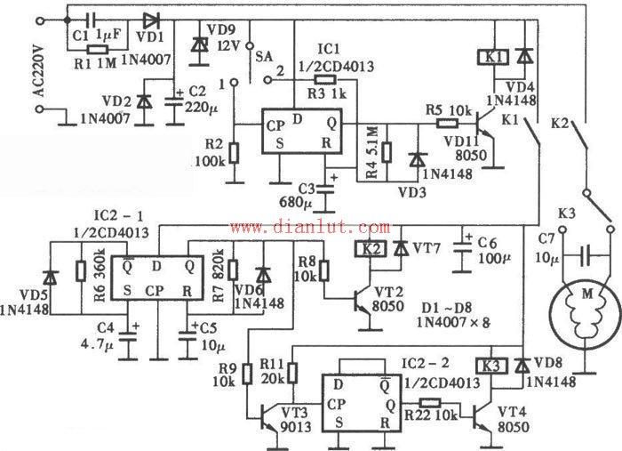 cd4013洗衣机定时器电路介绍_电源电路_电路图_114ic