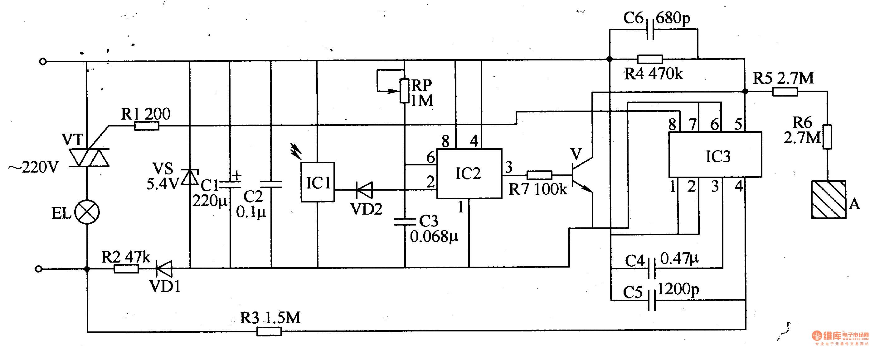 电源电路由限流/降压电阻器r2、整流二极管vdl、稳压二极管vs和滤波电容器cl、c2组成。 红外遥控电路由红外接收头icl、二极管vd2、时基集成电路ic2、晶体管v、电位器rp、电容器c3和电阻器r7组成。 触摸控制电路由触摸调光集成电路lc3、电阻器r4-r6、电容器c4-c6和触摸电极片a组成。 控制执行电路由ic3内电路、电阻器rl和晶闸管vt组成。 交流220v电压经r2限流降压、vdl整流、vs稳压及cl、c2滤波后,为icl-ic3提供5v左右的直流电压 (vcc)。 按动一下遥控器按键