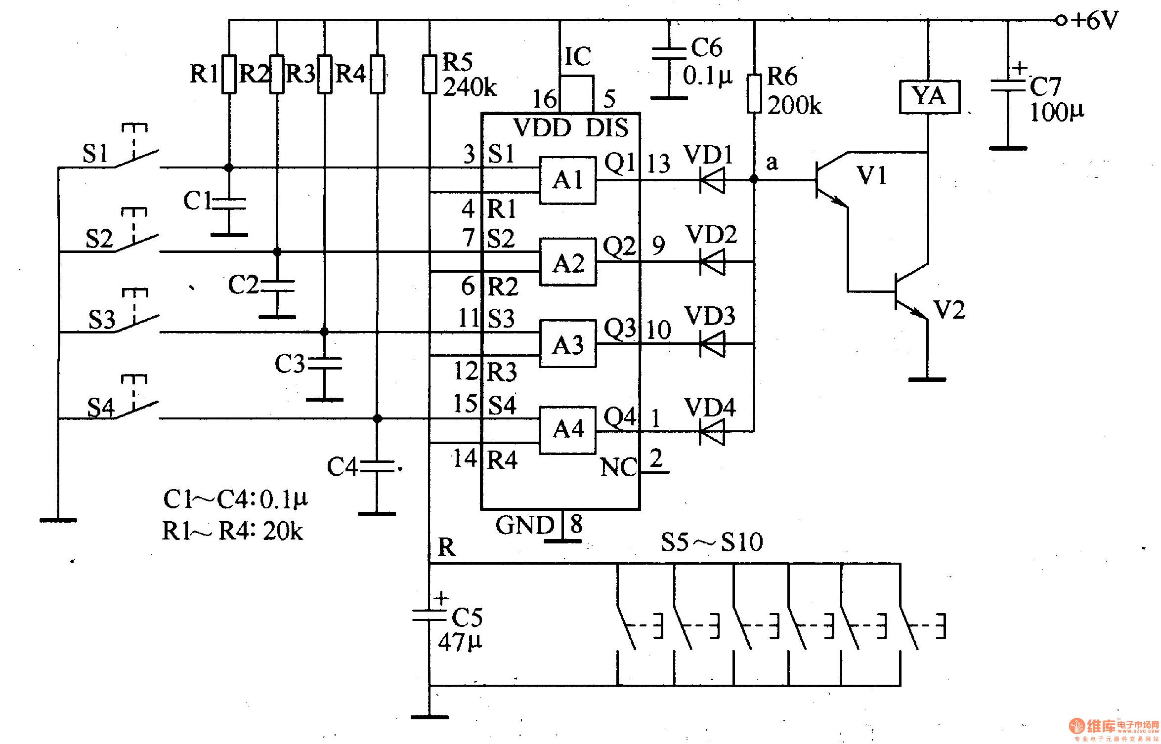 本例介绍一款采用cd4044数字集成电路和少量外围